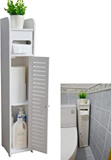Small Bathroom Storage Corner Floor Cabinet with Doors and Shelves, Thin Toilet Vanity Cabinet, Narrow Bath Sink Organizer...