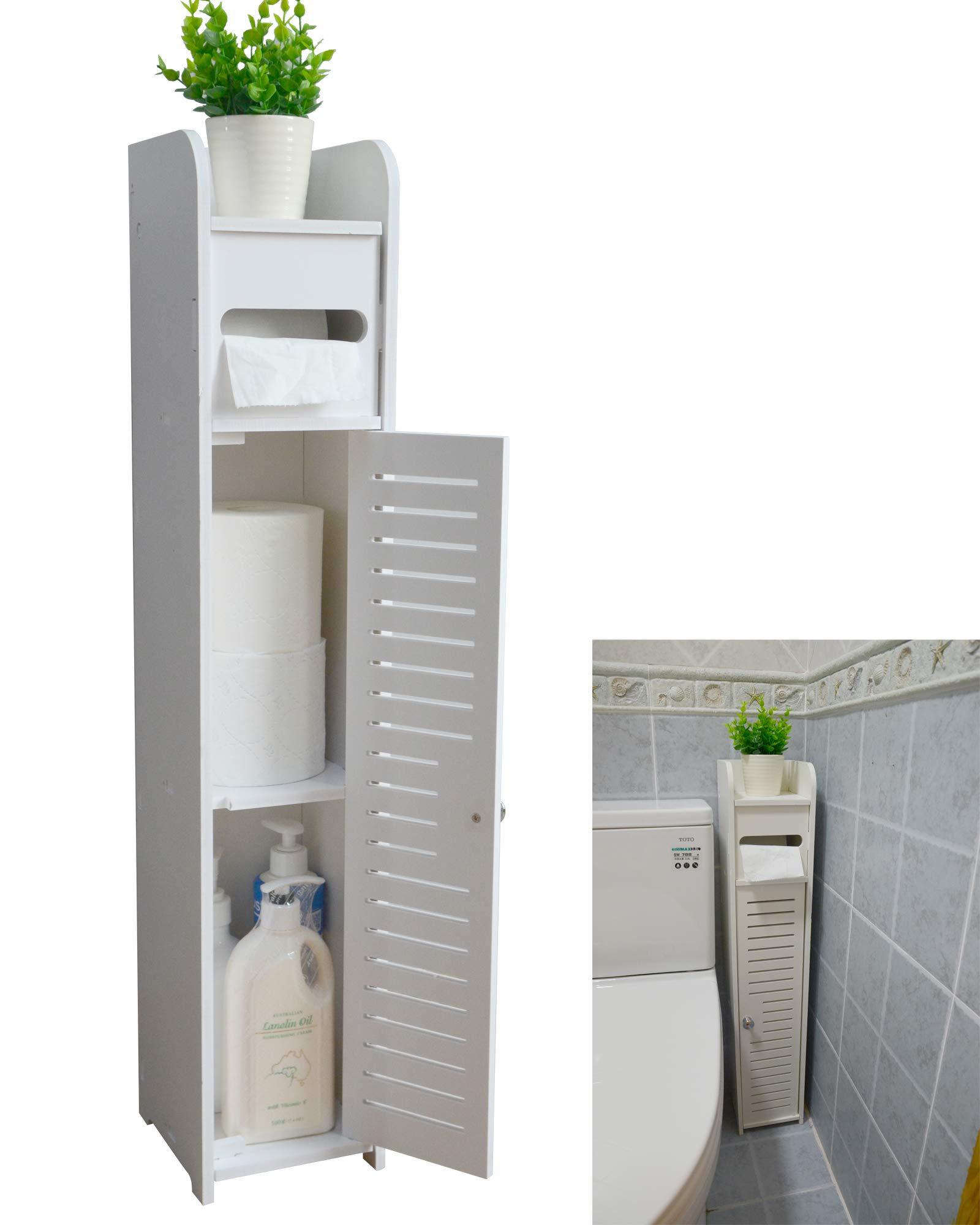 AOJEZOR kleiner Badezimmer-Eckschrank mit Türen und Regalen, dünner  WC-Schminkschrank, schmaler Badezimmer-Organizer, Handtuch-Ablage für