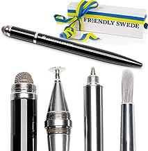 قلاب دوستانه سوئدی Stylus Pen 4 در 1 با براش قابل تعویض، نکته فیبر نوری، نقطه نجیب دیجیتال و قلم نوری در جعبه هدیه (سیاه)