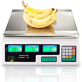 88LB 40KG Electronic Price Computing Scale   Digital Deli Food Produce Weight Scales Counting Equipment with LCD Display for Retail Outlet Store, Kitchen, Restaurant, Food, Meat, Fruit (White)