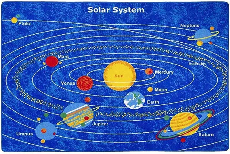 Mybecca Kids Rug 8 X 11 Solar System Children S Area Rug Non Slip Gel Backing Size Approximate 7 Feet 2 Inch By 10 Ft 7 2 X 10