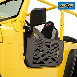 EAG US Flag Tubular Door Steel Body Armor with Side View Mirror Fit for 97-06 Jeep Wrangler TJ