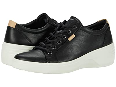 ECCO Soft 7 Wedge Classic Sneaker (Black Cow Leather) Women