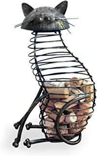Wine Cork Holder - A decorative wine cork holder wine barrel in the shape of a Elegant Metal Cat - For cat and wine lovers! Great for wine corks of all sizes!