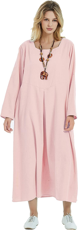 品質検査済 Anysize Square Neck Linen 人気の定番 Cotton Dress Plus Size Loose 4-Season
