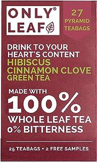 ONLYLEAF Hibiscus Cinnamon Clove Green Tea (27 Pyramid Tea Bags) Made with 100% Whole Leaf, Natural Hibiscus, Cinnamon & C...