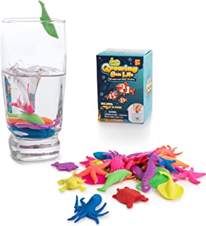 Water Growing Sea Creatures Animals - 32 Pack - Expandable Oceanic Under The Sea Animals, Fun Stocking Stuffers for Kids - Party Supplies Favors - Gift for Children Boys and Girls - Easter Egg Fillers
