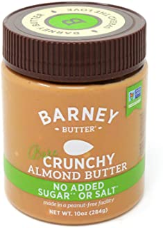 BARNEY Almond Butter, Bare Crunchy, No Sugar No Salt, Paleo, KETO, Non-GMO, Skin-Free, 10 Ounce