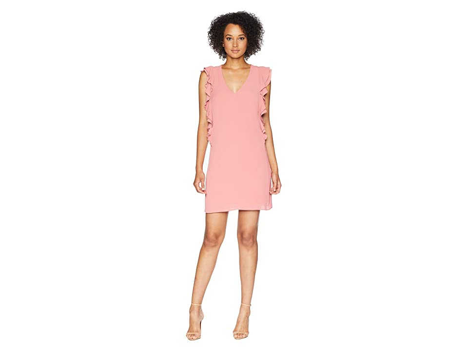 CeCe Kennedy Sleeveless V-Neck Ruffle Dress (Petal Blush) Women