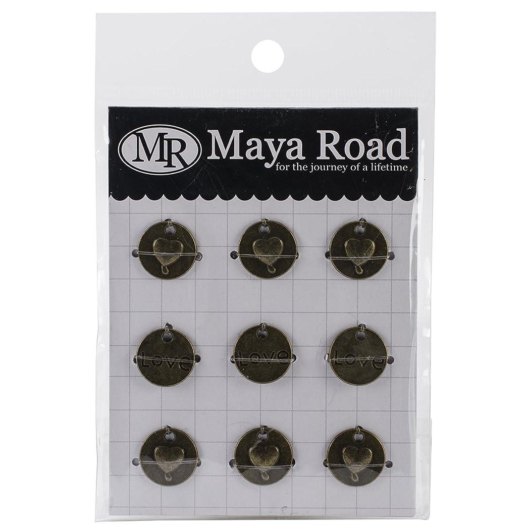 Maya Road Love Heart Circle Vintage Metal Charms (9 Pack), 0.6