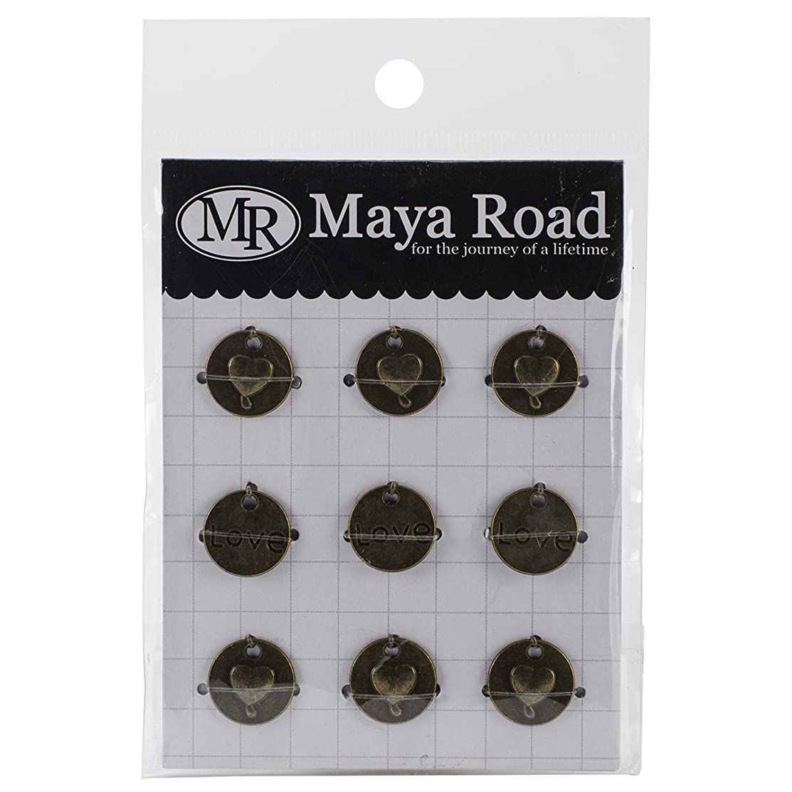 Maya Road Love Heart Circle Vintage Metal Charms (9 Pack), 0.6
