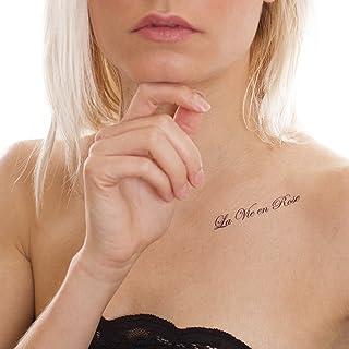 2 x La Vie opschrift tattoo kaart - 3 Franse citaten in zwart (2)
