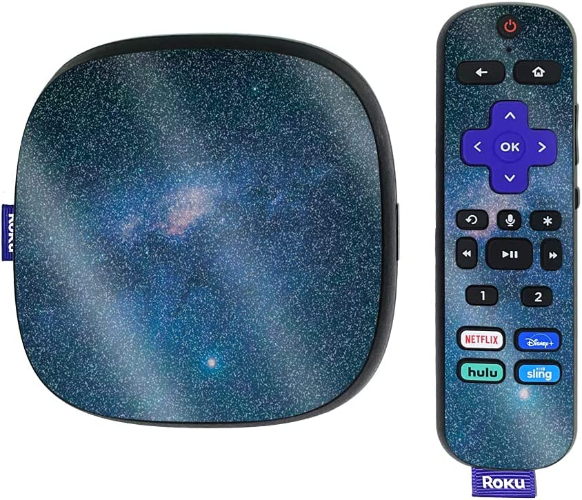 MightySkins Glossy Glitter Skin Compatible with Roku Ultra HDR 4K Streaming Media Player (2020) - Night Sky   Protective, Durable High-Gloss Glitter Finish   Easy to Apply   Made in The USA