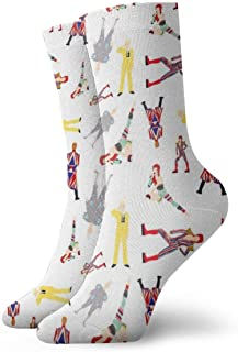 HJKAA, Calcetines Hombres Mujer Ditsy Bowie's Fashionable Colorful Funky Patterned Cotton Dress Socks 11.8 inch