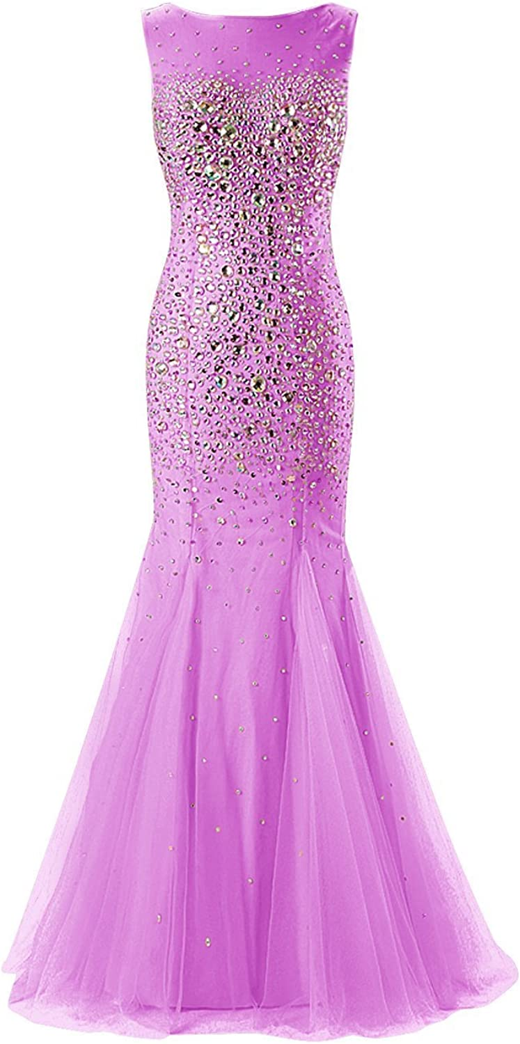 MariRobe Women's Beaded Mermaid Evening Dress Bowknot Rhinestone Prom Gown Tulle Backless Formal Party Dresses US12 Lavender