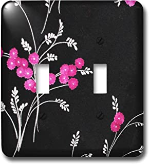 3dRose LLC lsp_23464_2 Pink Flowers On Black, Double Toggle Switch
