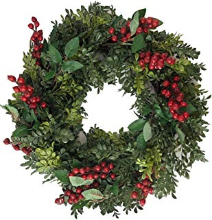 KKC 22 Red Berry Faux Holiday Wreath Boxwood Greenery Artificial Door Wall