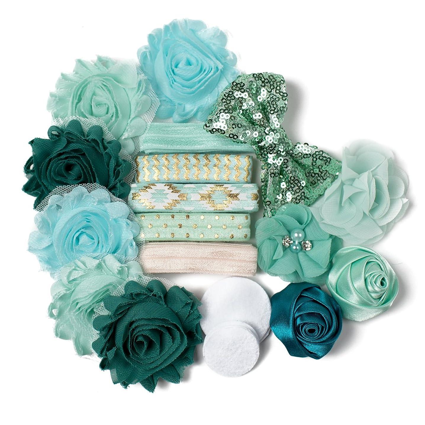 Mint Green with Envy : DIY Deluxe Mini Headband Kit Makes 5-10 Headband Hair Accessories : Shabby Chiffon Craft Roses FOE Fold Over Elastic : Teal Aqua Princess Parties & Baby Showers