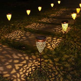 4x Lámpara Solar para Jardín, Luces Solares Impermeables Iluminación de Exterior, IP44, Lámpara Solar Decorativa para Jardín Camino Césped Patio Camping