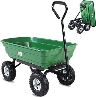 Deuba Carretilla de jardín con función de inclinación y Eje de dirección Carga máx de 300 kg Carrito de Transporte Verde