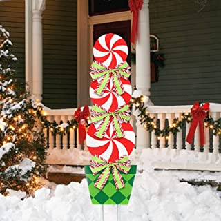 "MorTime 44"" Christmas Lollipop Garden Stake Decoration, Lollipop Candy Themed Outdoor Christmas Pathway Decor, Peppermint ..."
