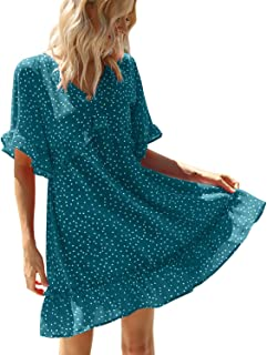 AGQT Women's Casual Summer Tunic Dress Ruffle Hem V Neck Floral Print Short Sleeves Loose Swing Mini Dress