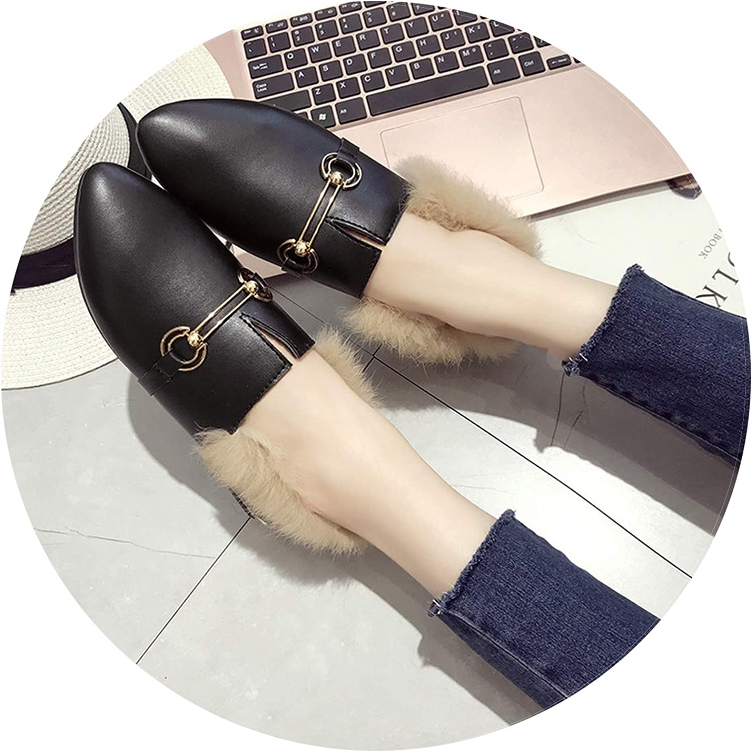 Dreamedge Slippers Pointed Rabbit Fur Women shoes Metal Chain Fashion Casual shoes Female Thick Heel Warm Single shoes