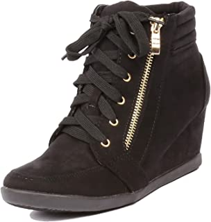ded98ace2f28 ShoBeautiful Women s Fashion Wedge Sneakers High Top Hidden Wedge Heel  Platform Lace Up Shoes Ankle Bootie