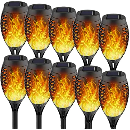 Staaricc 10Pack Solar Lights Outdoor, Solar Torches with Flickering Flame for Halloween&Christmas, Waterproof Festive Decoration&Romantic Landscape Mini Torch Lights for Garden Pathway-Auto On/Off