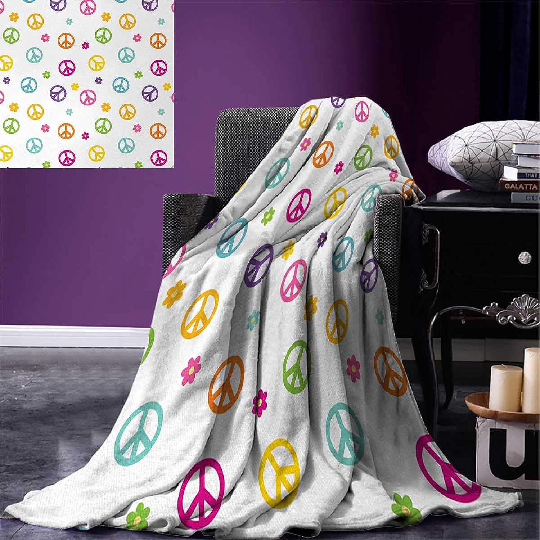 Anniutwo Groovy Travel Throw Blanket Peace Symbol Lifestyle Sign Slogan Celebration Merry Jolly Happy Theme Artful Design Velvet Plush Throw Blanket 60 x50  Multicolor
