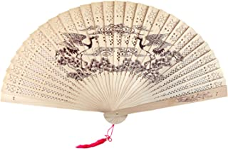 SPG Sandalwood Scented Wooden Folding Fan Hand-Crafted Japanese/Chinese Vintage Style or Wedding Decoration, Birthdays, Home Gifts (Crane)