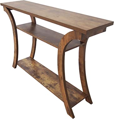 OMISHOME Amish-Style Console Table with Shelves - Easy to Assemble Design with Impressive Strength - Rustic Wood Grain Look -