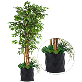 "Deluxe 72"" FICUS Silk Leaf Artificial Tree + Premium Fiddle Leaf Foliage in 8"" Base + 12"" Plant Pot Skirt"