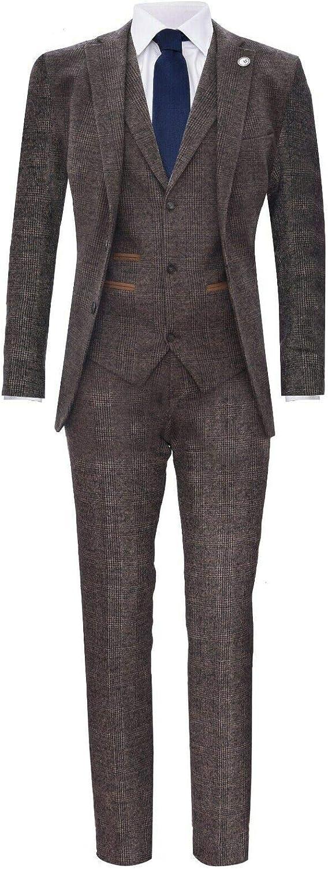 Men's Vintage Clothing | Retro Clothing for Men Mens Classic 3 Piece Herringbone Peaky Blinders Tweed Suit  AT vintagedancer.com