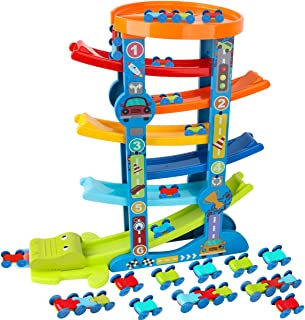 LOYO Toddler Car Ramp Toys – Car Race Tracks for Toddlers with 10 Mini Cars, Ramp Racer Toy for Kids Gifts for 1 2 3 4 Years Old Boy