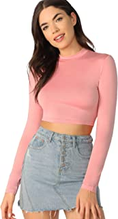 Women's Casual Slim Fitted Basic Long Sleeve Solid Crop Tee Top