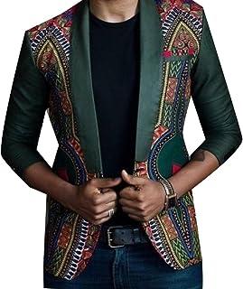 Nicelly Men's Lapel Slim Novelty African Dashiki Business Blazers Blazer