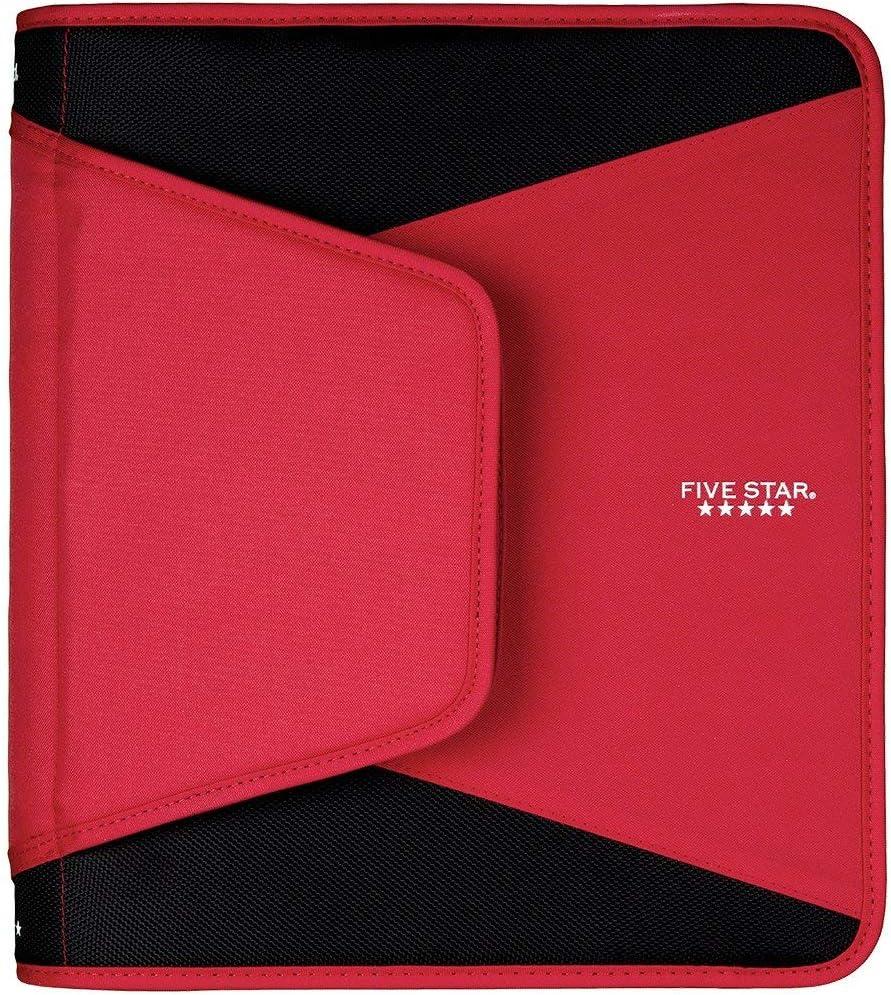 Red New Version Durable 3-Pocket Expanding File Zipper Binder 1-1//2 Inch 3 Ring Binder
