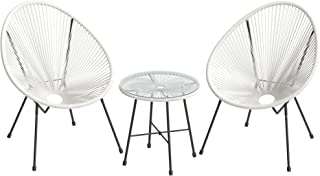 SONGMICS 3-Piece Outdoor Seating Acapulco Chair, Modern...