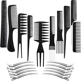 DAYONG 10 Pack Hair Stylists Styling Comb Set with 10 Pack Duck Bill Clips Salon Barber Anti-static Hair Combs Styling Com...