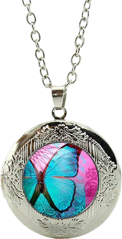 Butterfly Art Under Glass Cabochon Locket Photo Pendant Necklace