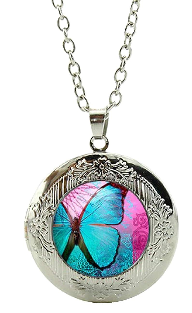 Blazing Autumn Butterfly Art Under Glass Cabochon Locket Photo Pendant Necklace