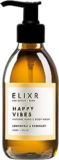 ELIXR Happy Vibes Flüssigseife I Handseife Rosmarin Zitronengras I Glasflasche mit Pumpspender 230ml I Zertifizierte Naturkosmetik I Hand Soap