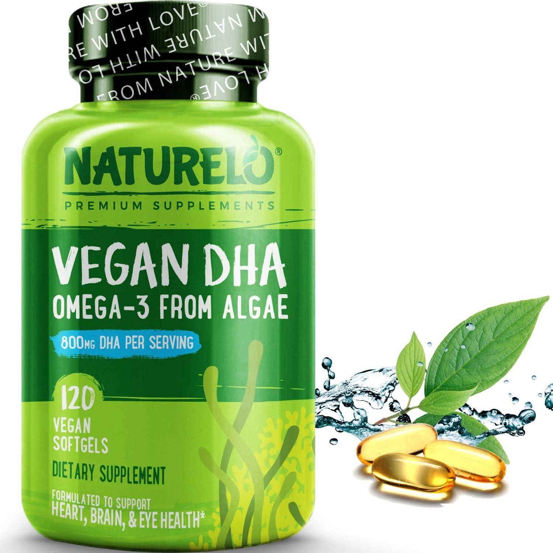 NATURELO Vegan DHA - Omega 3 Oil from Algae - Best Supplement for Brain, Heart, Joint, Eye Health - Provides Essential Fatty Acids for Women Men and Kids - Complements Prenatal Vitamins - 120 Softgels