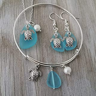 product image for Handmade in Hawaii, Turquoise bay blue sea glass necklace + earrings + bracelet Set, Sea turtle charm, Freshwater pearl, (Hawaii Gift Wrapped, Customizable Gift Message)