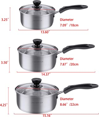 Multi-Size 6 piece Stainless Steel Pot Set, Pots and Pans Set, Cookware Sets Kitchenware Stainless Steel 3 Pots (2qt, 3qt and