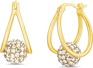 Devin Rose Crystal Ball Hoop Earrings for Women made With Swarovski Crystals (Various Colors)