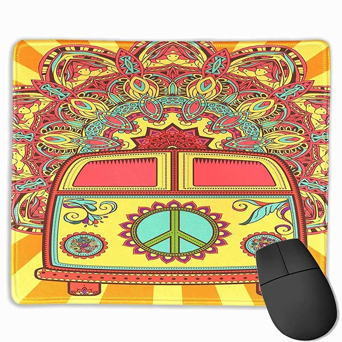 LIminglove Hippie Vintage Mini Van Ornamental Backdrop Peace Sign Gaming Mouse Pad,Non-Slip and Dust-Proof Mouse,Funny Creative Mouse pad