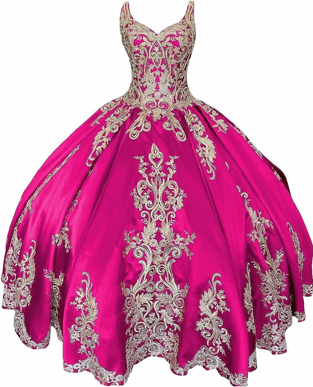 HFAGEMV Gold Embroidered Beaded Quincenaera Dresses Sweet 16 Girls Ball Gowns Dress Women 2021
