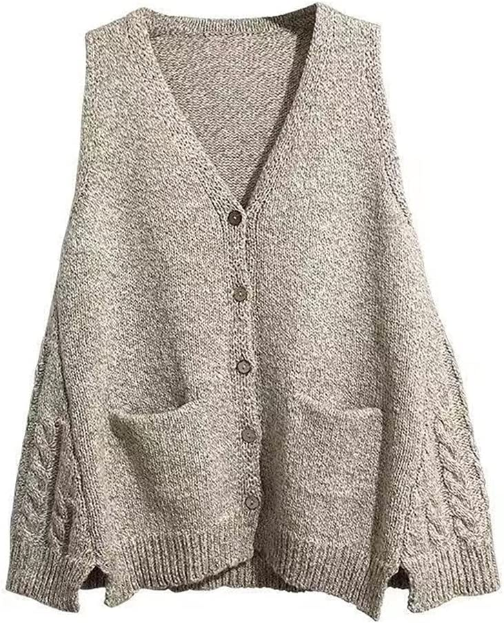 YFQHDD V-Neck Knitted Vest Women's Sweater Cotton Korean Loose Wild Sweater Autumn Winter Vest Sleeveless Pullover (Color : Gray, Size : L code)